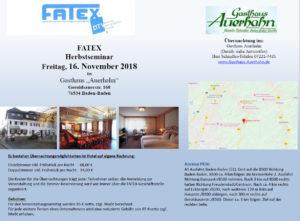 FATEX Herbstseminar Freitag, 16. November 2018